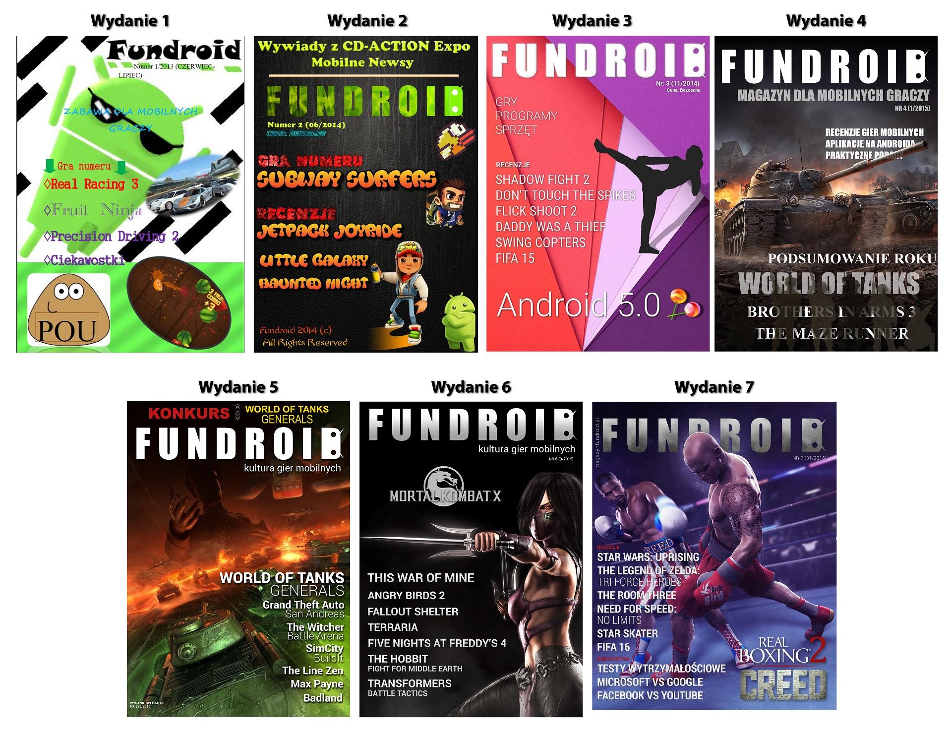 Okładki czasopisma Fundroid